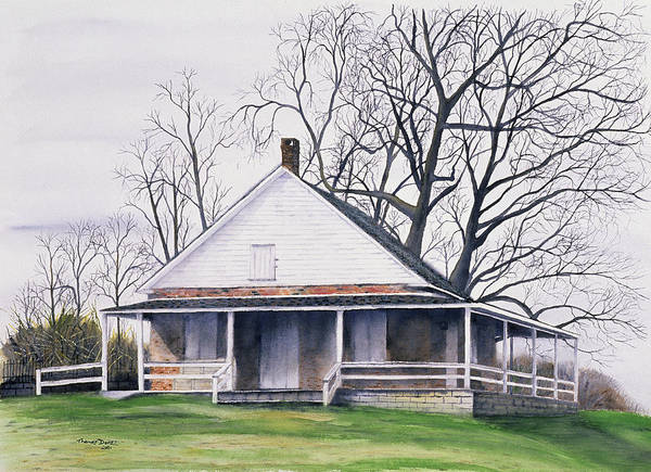 Quaker Poster featuring the painting Quaker Meeting House by Tom Dorsz