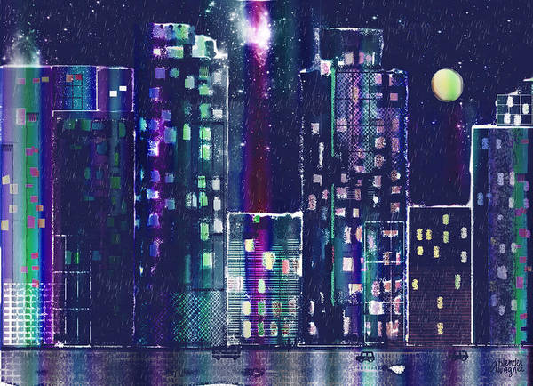 Skyline Poster featuring the digital art Rainy Night In The City by Arline Wagner