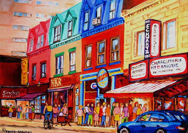 Cityscape Poster featuring the painting Schwartz Lineup With Simcha by Carole Spandau
