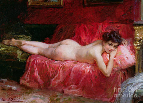 Nude; Siesta Poster featuring the painting The Idle Hour by Daniel Hernandez