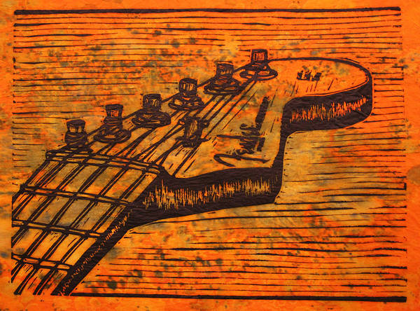 Fender Poster featuring the drawing Fender Strat by William Cauthern