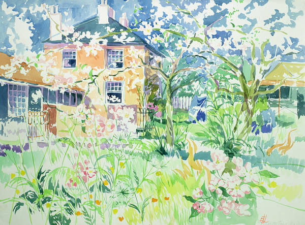 House Poster featuring the painting Apple Blossom Farm by Elizabeth Jane Lloyd