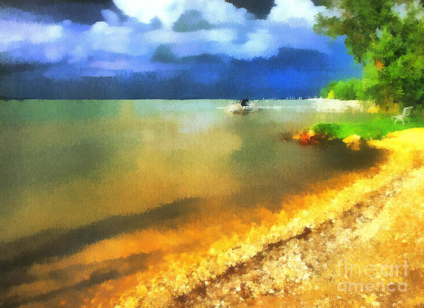 Acrylic Poster featuring the painting Balaton Shore by Odon Czintos
