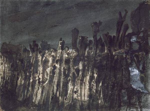 Wooden Posts Poster featuring the painting Breakwater In Jersey by Victor Hugo