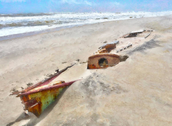 Outer Banks Poster featuring the painting Buried Treasure - Shipwreck On The Outer Banks I by Dan Carmichael