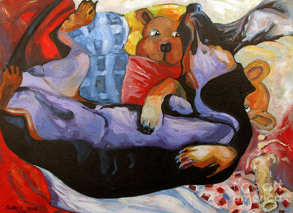 Dachshund Poster featuring the painting Dreamland by Charlie Spear