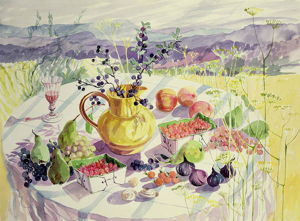 Flower Poster featuring the painting French Table by Elizabeth Jane Lloyd