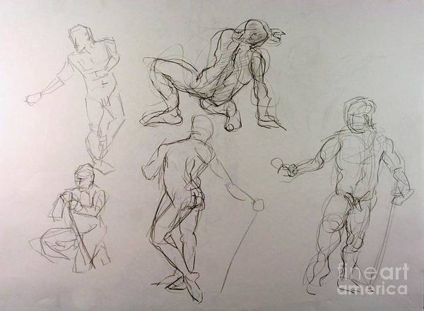 Andy Gordon Poster featuring the drawing Gestures Of A Man by Andy Gordon