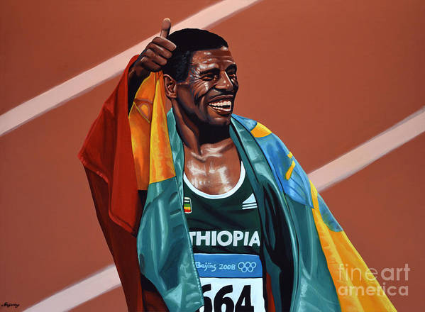 Haile Gebrselassie Poster featuring the painting Haile Gebrselassie by Paul Meijering