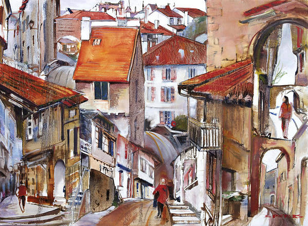 Landscape Poster featuring the painting Laneways Of Nerac by Shirley Peters