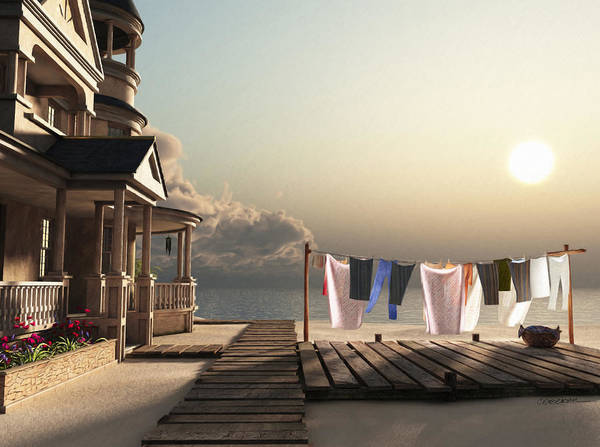 Beach Poster featuring the digital art Laundry Day by Cynthia Decker