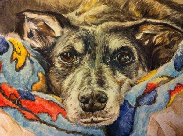 Lurcher Poster featuring the painting Milo The Lurcher by Pet Portraits by Julie Bunt