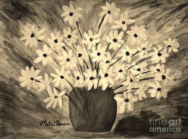 Daisy Poster featuring the painting My Daisies Sepia Version by Ramona Matei