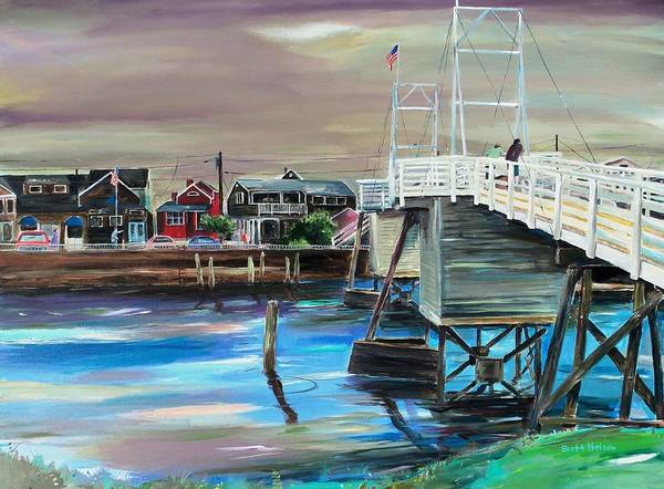 Perkin's Cove Poster featuring the painting Perkins Cove Maine by Scott Nelson