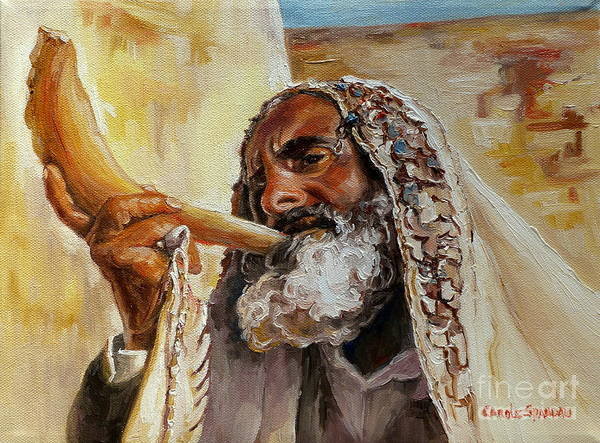 Rabbi Poster featuring the painting Rabbi Blowing Shofar by Carole Spandau