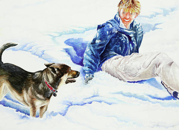 Snow Poster featuring the painting Snow Play Sadie And Andrew by Carolyn Coffey Wallace