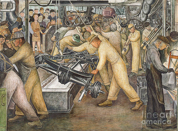 Machinery Poster featuring the painting South Wall Of A Mural Depicting Detroit Industry by Diego Rivera