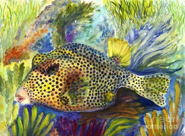 Tropical Fish Poster featuring the painting Spotted Trunkfish by Carol Wisniewski