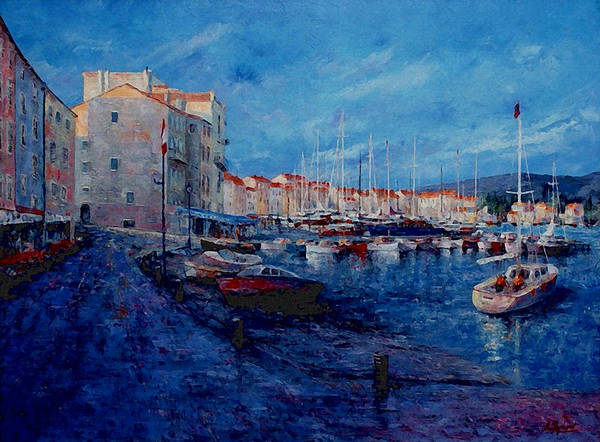 Originals Poster featuring the painting St.tropez - Port -  France by Miroslav Stojkovic - Miro