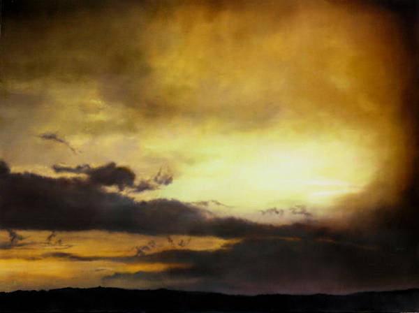 Sunset Poster featuring the painting Pouzol Sunset 92 X 122cm by Thomas Darnell