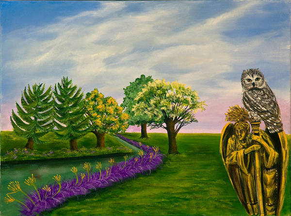 Susan Culver Fine Art Prints Poster featuring the painting The Angel And The Owl by Susan Culver