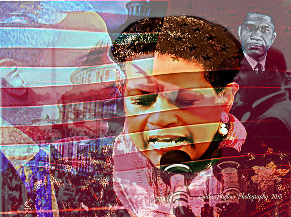 Barack Obama Poster featuring the digital art The Invocation by Lynda Payton