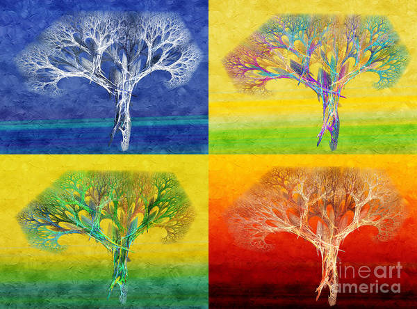 Andee Design Abstract Poster featuring the digital art The Tree 4 Seasons - Painterly - Abstract - Fractal Art by Andee Design