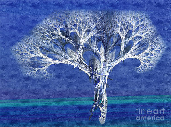 Andee Design Abstract Poster featuring the digital art The Tree In Winter At Dusk - Painterly - Abstract - Fractal Art by Andee Design