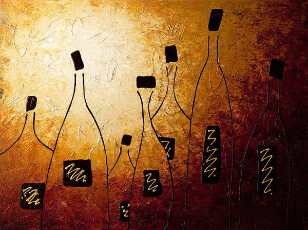 Wine Abstract Art Poster featuring the painting Vins De France by Carmen Guedez