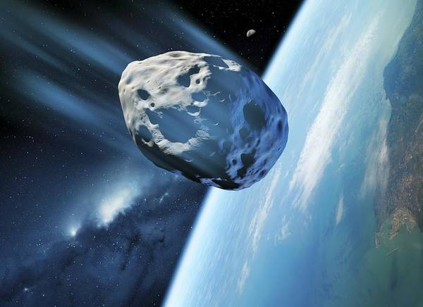Earth Poster featuring the photograph Asteroid Approaching Earth, Artwork by Detlev Van Ravenswaay