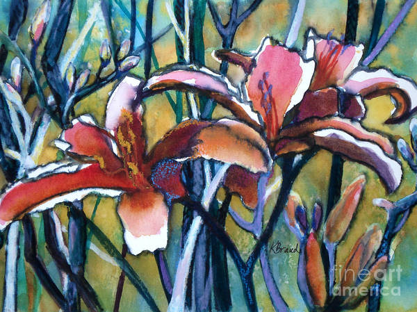 Painting Poster featuring the painting Daylily Stix by Kathy Braud