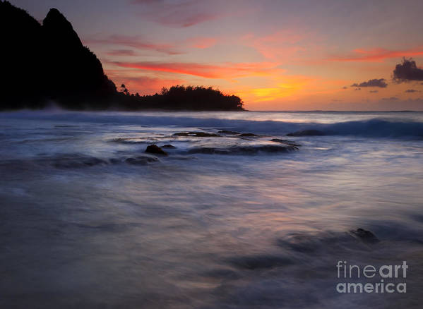 Tunnels Beach Poster featuring the photograph Engulfed By The Sea by Mike Dawson