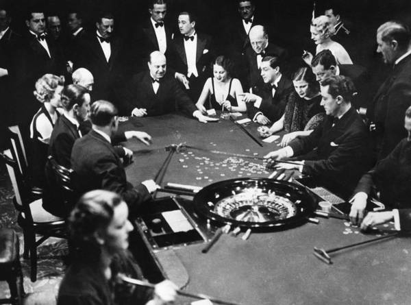 1930s Poster featuring the photograph Gambling In Monte Carlo, On The French by Everett