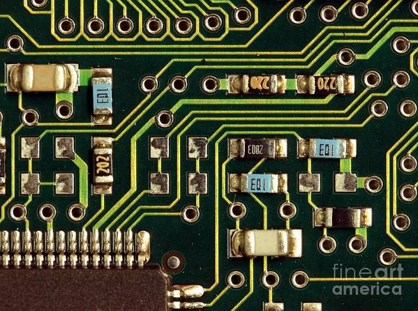 Computer Poster featuring the photograph Macro View Of A Computer Motherboard by Yali Shi