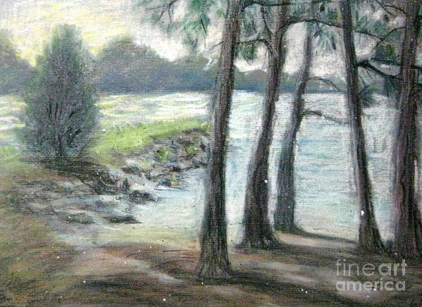 Lake Scene Poster featuring the pastel Snow Flurrys At Galt's Ferry by Gretchen Allen