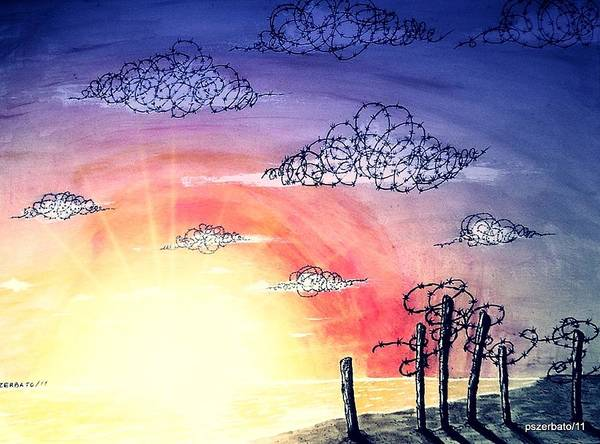 The Pain Poster featuring the digital art The Pain Of Sky That Will Never Be Calm by Paulo Zerbato