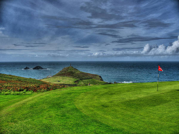 Golf Poster featuring the photograph 1st Green Cape Cornwall Golf Club by Chris Thaxter