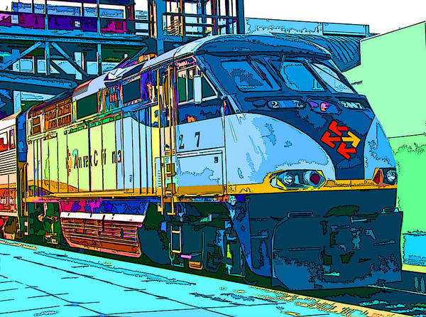 Amtrak Poster featuring the photograph Amtrak Locomotive Study 2 by Samuel Sheats