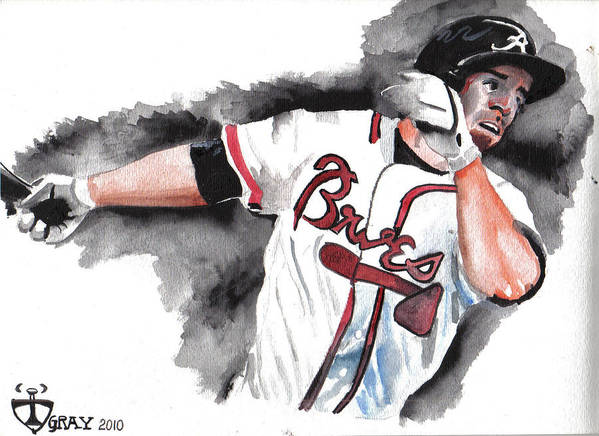 Watercolor Art Poster featuring the painting Art Of The Braves by Torben Gray