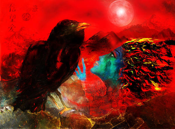 Raven Poster featuring the digital art Ask The Raven II by Patricia Motley