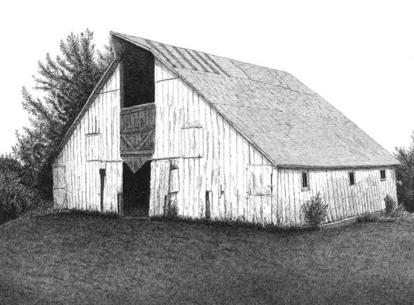 Barn Poster featuring the drawing Barn 16 by Joel Lueck