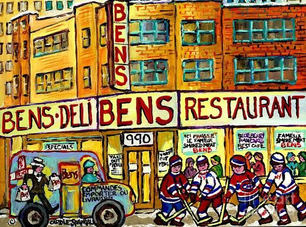 Ben's Famous Smoked Meat Montreal Memories Canadian Paintings Hockey Scenes  And Landmarks C Spandau Poster