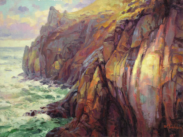 Sea Poster featuring the painting Cascade Head by Steve Henderson