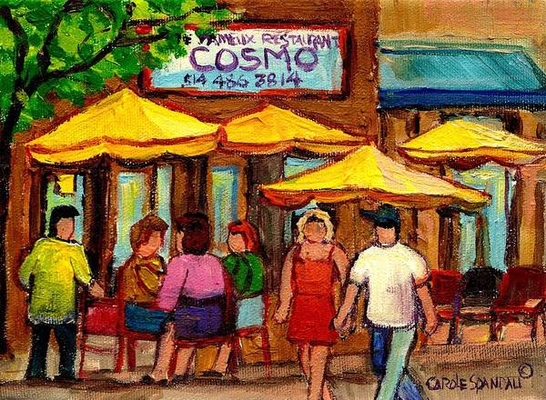 Cosmos Restaurant Poster featuring the painting Cosmos Fameux Restaurant On Sherbrooke by Carole Spandau
