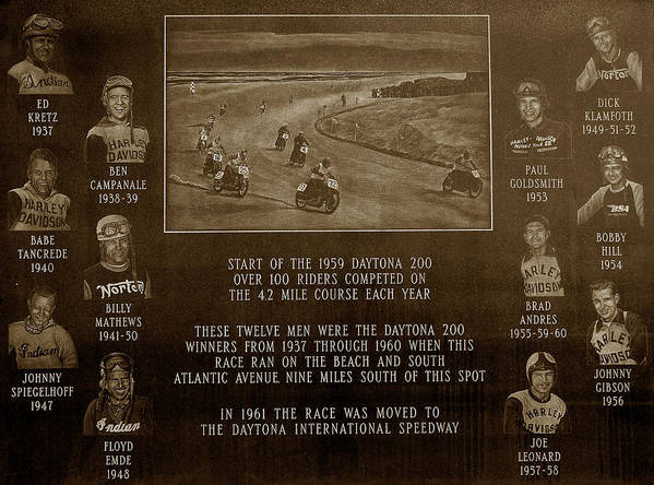Dayton 200 Bike Race Poster featuring the photograph Daytona 200 Plaque by David Lee Thompson