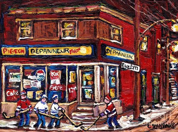 Depanneur Pigeon Street Hockey Night Scene Winter In The Old Neighborhood  Verdun Paintings Best Art Poster