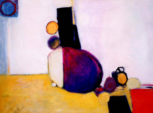 Abstract Poster featuring the painting Early Blob Having A Ball by Marlene Burns