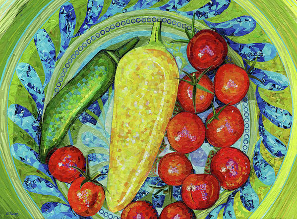 Collage Poster featuring the mixed media Garden Harvest by Shawna Rowe