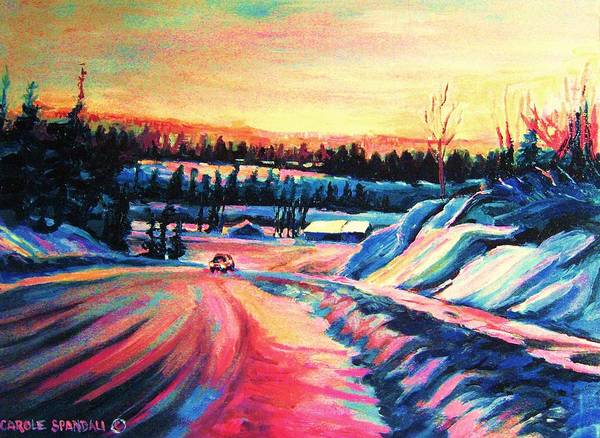 Winterscene Poster featuring the painting Going Places by Carole Spandau