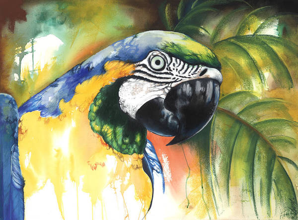 Green Parrot Poster featuring the mixed media Green Parrot by Anthony Burks Sr